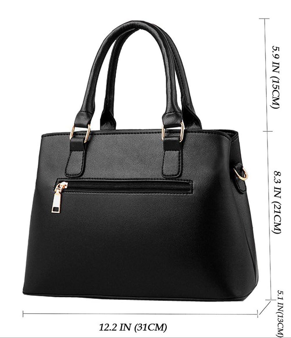 Amazon.com  Dreubea Women s Leather Handbag Tote Shoulder Bag Crossbody  Purse Black  Shoes ac30b932e09d9