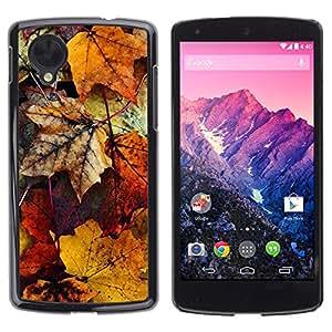 TopCaseStore / la caja del caucho duro de la cubierta de protección de la piel - Yellow Gold Autumn Fall Nature - LG Google Nexus 5 D820 D821