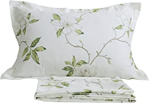 FADFAY White Floral Print Bed Sheet Sets 4-Piece Queen