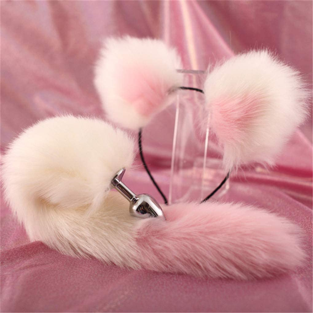 Made-to-Order  White Long Fur Kitty Cat Cosplay Ears Set with Pink Bows and Gold Bells Silver 3mm Metal Headband