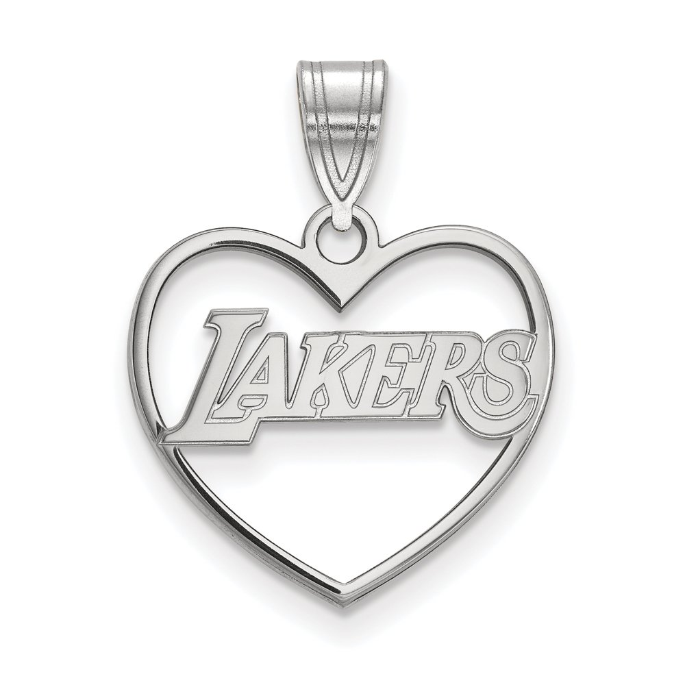 NBA Los Angeles Lakers Heart Pendant in Rhodium Plated Sterling Silver
