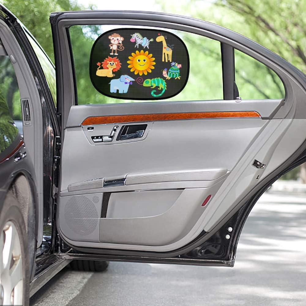 Cartoon-Muster Oziral Auto Sonnenschutz f/ür Baby 2 St/ück Universeller Auto Sonnenblende mit UV Schutz Selbsthaftende Sonnenblenden Abdeckung f/ür Kinder