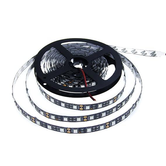 ALITOVE - Cinta flexible LED de 300 ledes 5050 SMD azul, luz negra PCB DC 12 V 5 m, no es resistente al agua para el hogar, jardín, zona comercial y ...