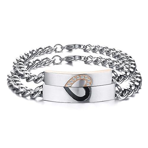 15e56f2956 Aienid Couple Bracelets for Men Women Stainless Steel Bangle I Love You CZ  Heart