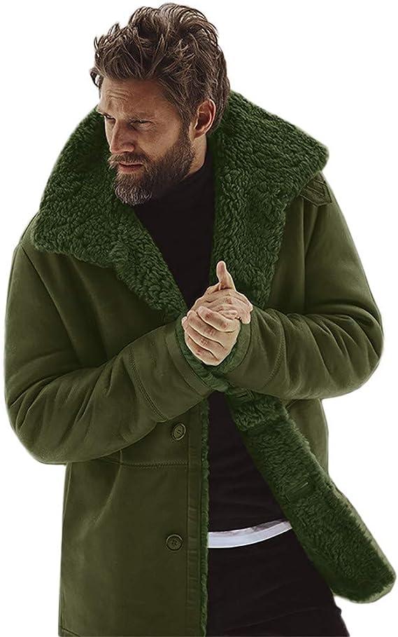 The Areena Design Vintage Mens Leather Lambs Fur Fleece Bomber Flight Winter Coats Jacket 2018