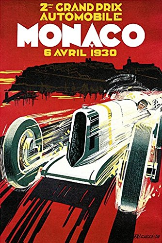 GRAND PRIX de MONACO POSTER 1930 French Vintage Car Racing RARE HOT NEW (Vintage French Cars)