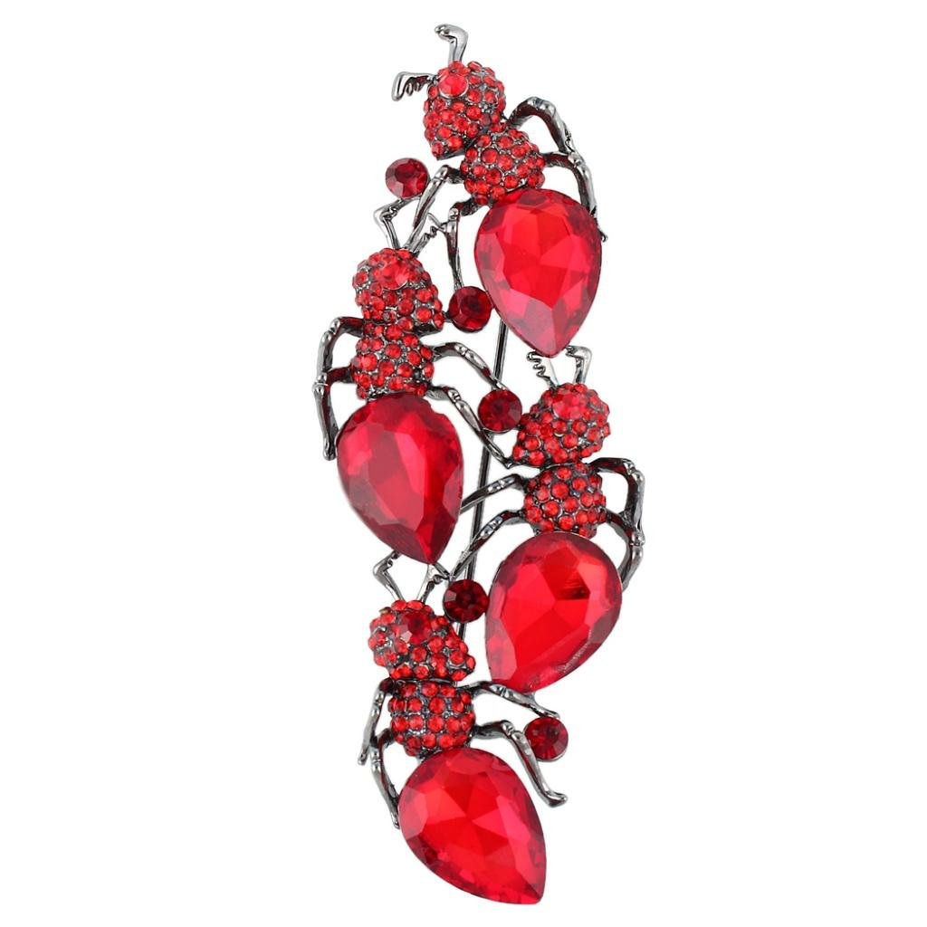 EVER FAITH Women's Rhinestone Crystal Gorgeous 4 Ant Insect Bug Animal Brooch Red Black-Tone