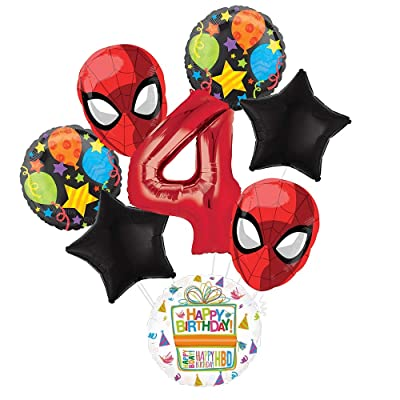 Spiderman Party Supplies 4th Birthday Spider-Man Mask Balloon Bouquet Decorations: Toys & Games