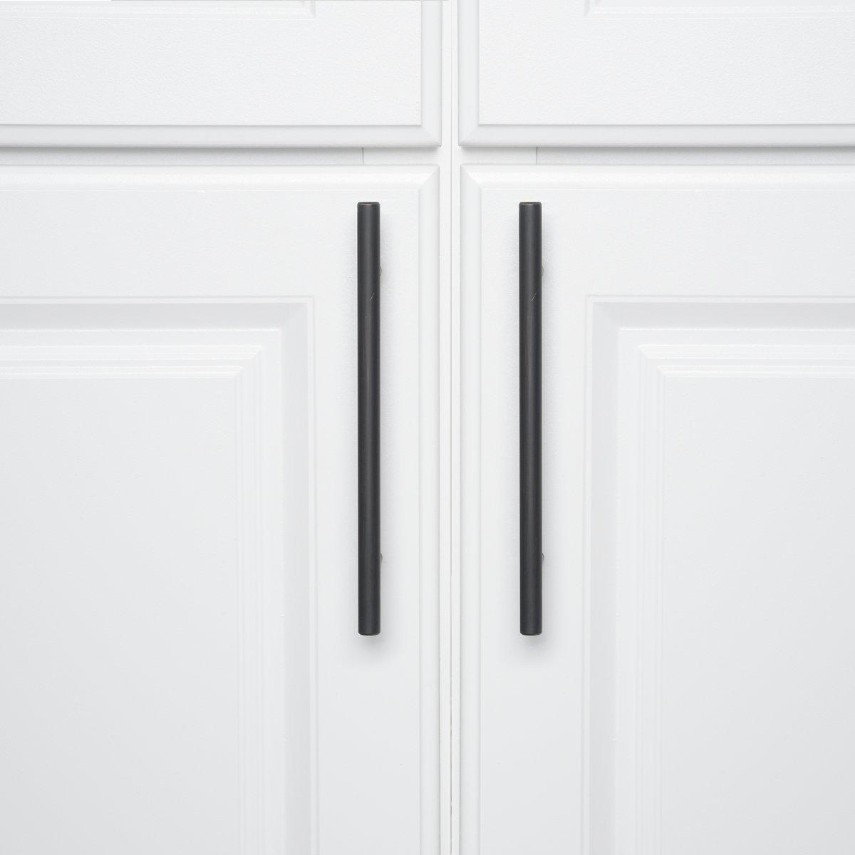 Nichel satinato Lunghezza 13,66 cm Maniglia a barra per mobili diametro 0,95 cm stile europeo Basics Interasse: 7,62 cm Confezione da 25 pezzi