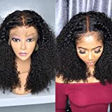 360 Lace Frontal Wigs Curly 180% Denisty Lace Front Human Hair Wigs for Black Women Kinky Curly Virgin Hair Lace Wig with Baby Hair Bleached Knots Pre Plucked (10inch)
