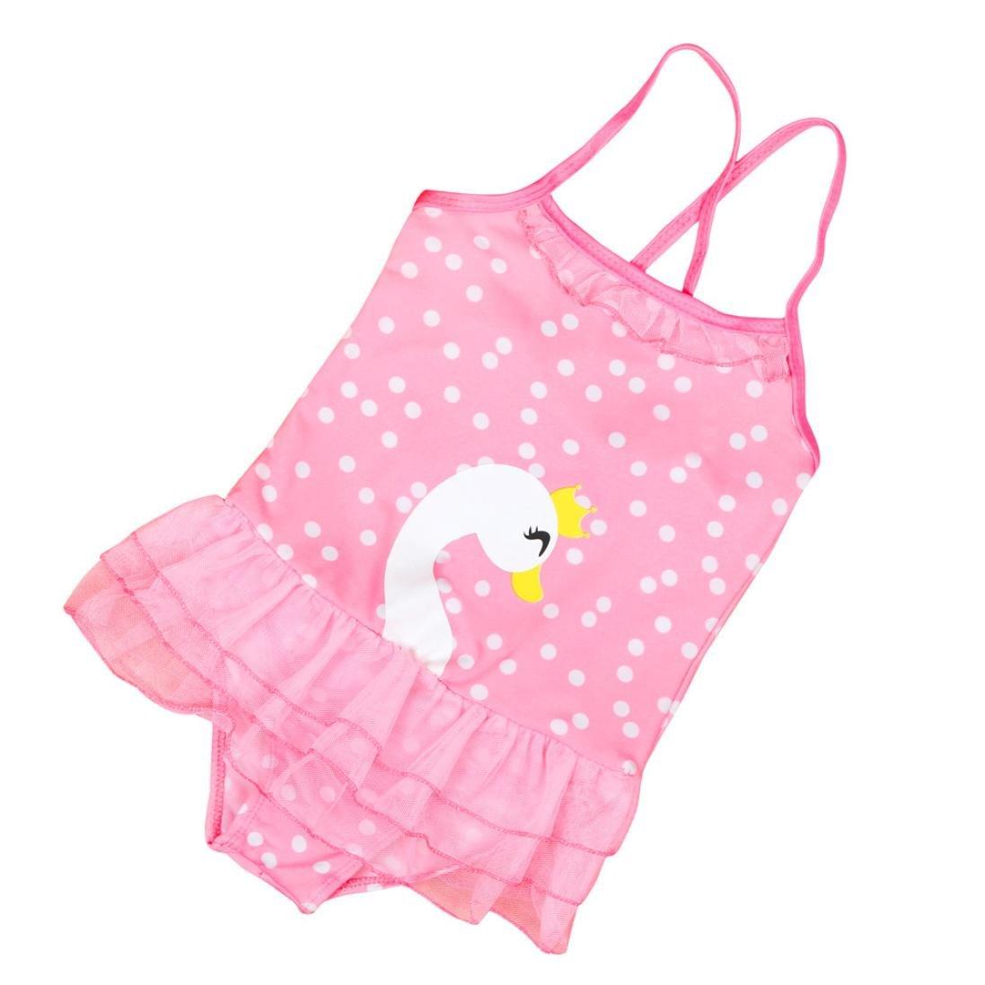 Wanshop Little Girl Swimwear, Baby Girls Cute One Piece Swimsuit Swan Print Swimwear Swimming Costume 1-3 Years Old