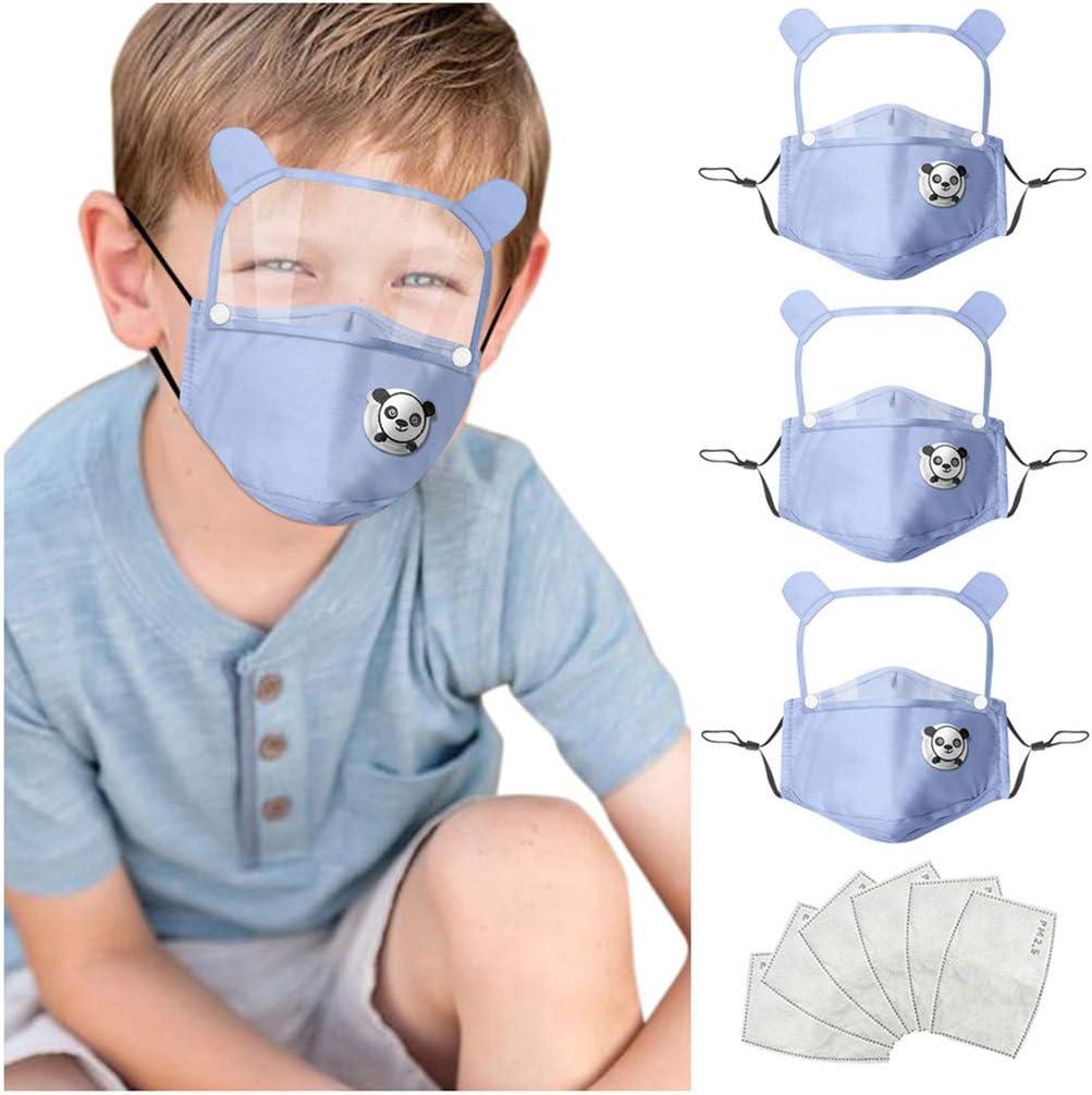 Escudo de protección Facial para niños de 3 Piezas con 6 filtros de reemplazo y Protector Ocular Desmontable Lavable Reutilizable a Prueba de Polvo
