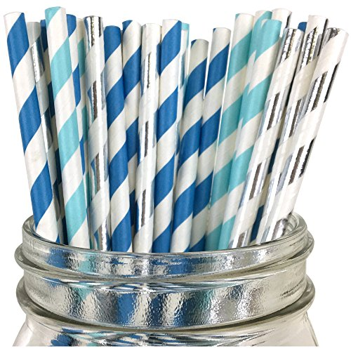 [Just Artifacts - Assorted Decorative Paper Straws 100pcs - Light Blue/Blue/Metallic Silver Striped - Decorative Paper Straws for Birthday Parties, Weddings, Baby Showers, and Life] (Drinking Hats With Straws)