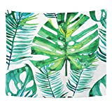 Emvency 60x80 Inch Tapestry Mandala Home Decor Aloha Watercolor With Green Tropical Leaves Monstera Leaf Palm Banana Banana Tree Tapestries Bedroom Living Room Dorm