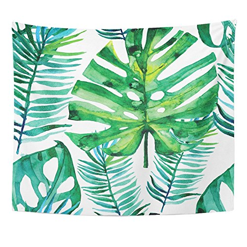 Emvency 60x80 Inch Tapestry Mandala Home Decor Aloha Watercolor With Green Tropical Leaves Monstera Leaf Palm Banana Banana Tree Tapestries Bedroom Living Room Dorm by Emvency