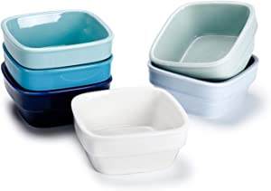 Sweese 513.003 Porcelain 7oz Dipping Bowls, Sauce Dishes, Square Ramekins, Souffle Dishes Set of 6, Cool Assorted Colors