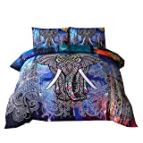 NTBED Bohemian Bedding Mandala Duvet Cover Set with Zipper (1 Duvet Cover+2 Pillowcases), Elephant Exotic Pattern Boho Bedding Sets (Multi, King(No Comforter))