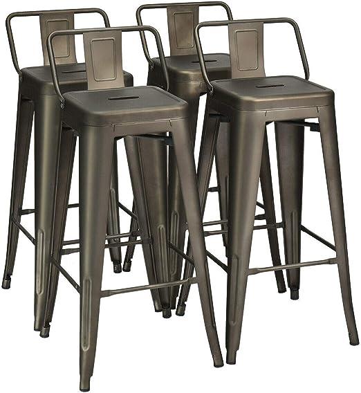 "Set of 4 Metal Bar Stools 30/"" Bar Height Barstools Industrial w// Low Back Gun"
