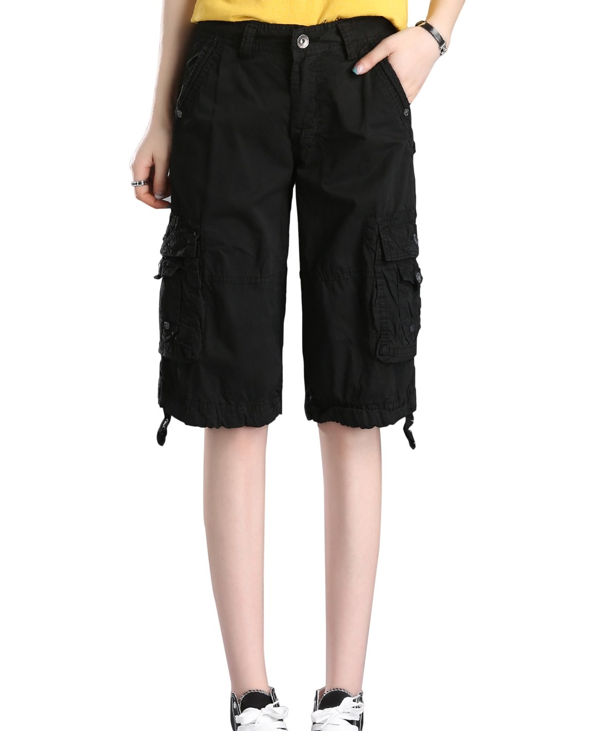 HOW'ON Women's Casual Loose Fit Twill Bermuda Cargo Shorts Multi Pocket Straight Shorts Black M