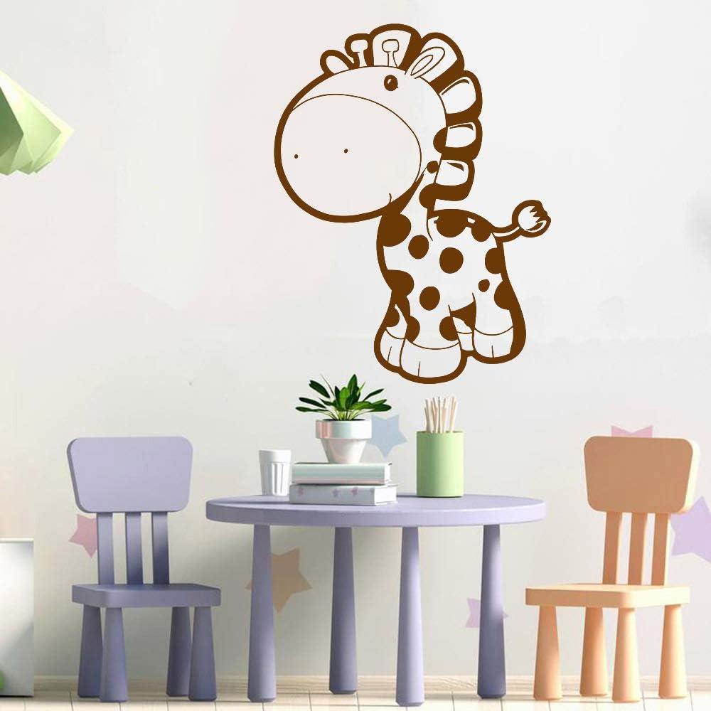 YuanMinglu Adhesivos de Pared de Vinilo de Jirafa para niños Juguetes Divertidos Adhesivos de Pared para niños de Dibujos Animados de jardín de Infantes marrón 57x74cm