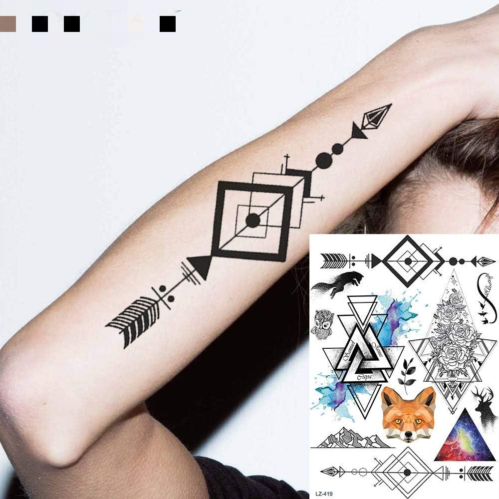 adgkitb 3 Piezas Tatuaje Temporal de Lobo Azul Tatuaje Negro ...