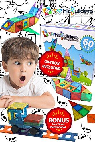 les Toys Set - Blocks STEM Toy Kit for Kids - Educational Construction Stacking Shapes - 60 Pieces (Magnetic Building Tiles)