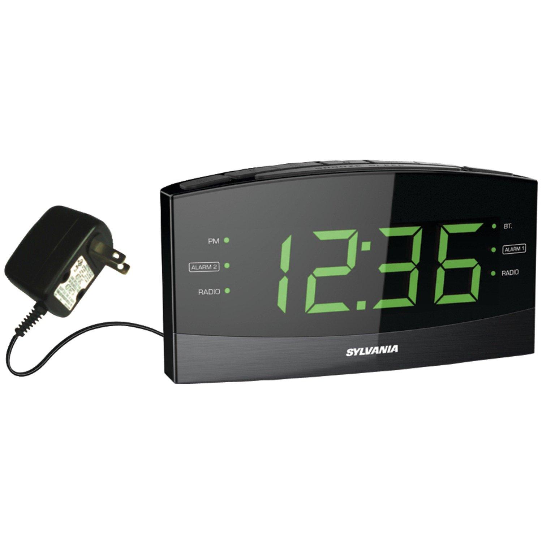 Sylvania SCR1989BT 1.8 Jumbo Digit Clock with AM/FM Radio, Bluetooth and Dual Alarm Curtis