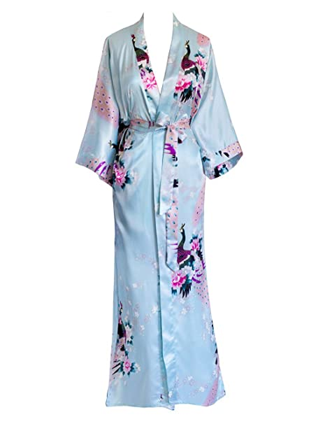 Kim Ono Womens Kimono Long Robe Peacock Blossoms Aqua On