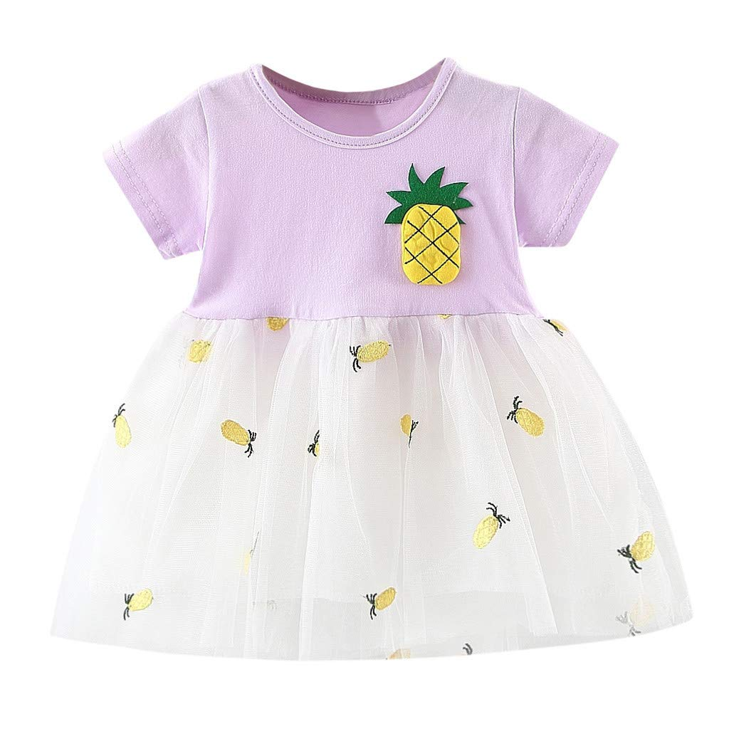 Toddler Baby Girl Dresses Pineapple Patchwork Tulle Skirt Party Princess Clothes