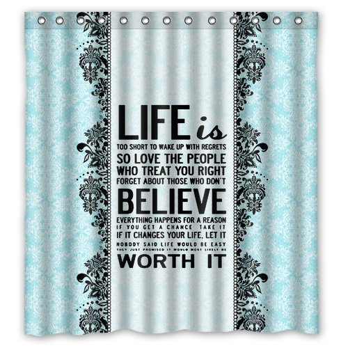 Damask Quote Shower Curtain Waterproof Polyester Fabric Bath Curtains