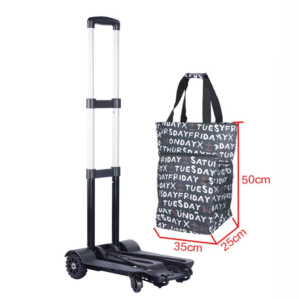ショッピングキャリー 軽量折りたたみ頑丈な荷物トラベルトロリー、ポータブルハンドトラック折りたたみショッピングカート (色 : With bag)  With bag B07H1N6W9S