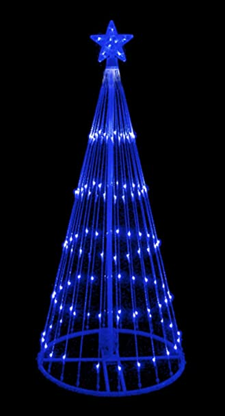 6 blue led light show cone christmas tree lighted yard art decoration