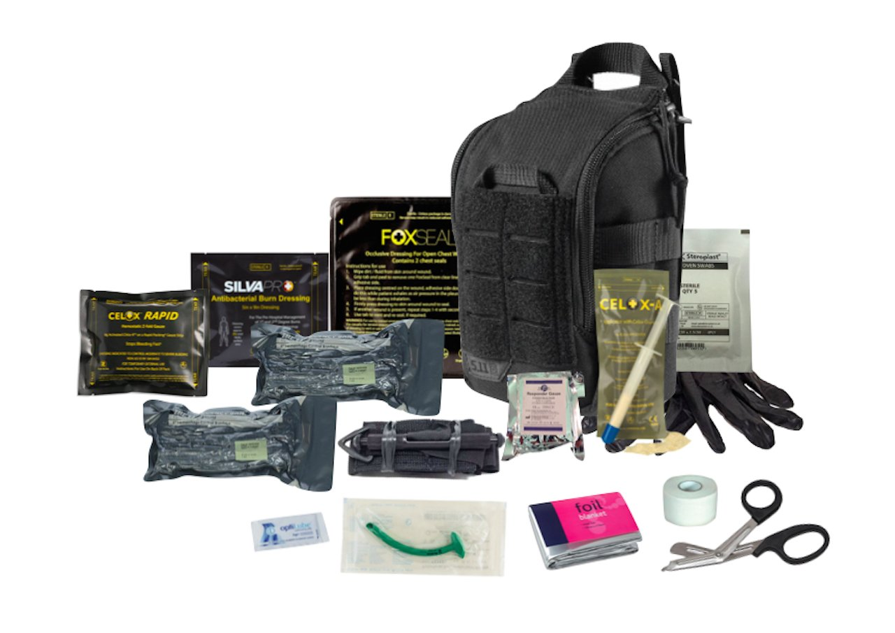 The 5.11 Advanced Trauma Kit Black is designed to be TCCC compliant, and has the ability to address the three leading causes of combat and tactical deaths