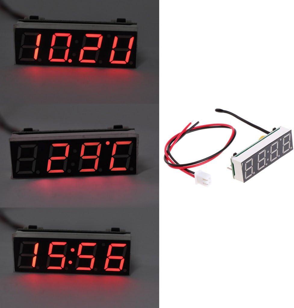 BIlinli Digital Car LED Electronic Clock Tempo Temperatura Tensione 3 in 1 Meter 12V 5-20V