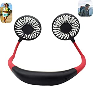 Portable Sports Neck Hanging Fan,USB Rechargeable 2000mAh Hands-Free Mini Fan, Pocket Fan, Travel Fan, Earphone Design Mini USB Fan,Wearable Necklance Fan With LED Double Wind Head(Black)