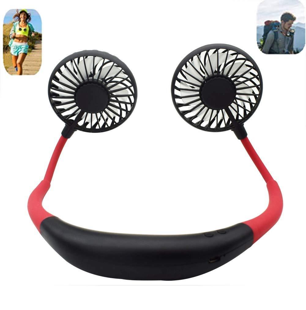 Portable Sports Neck Hanging Fan,USB Rechargeable 2000mAh Hands-Free Mini Fan, Pocket Fan, Travel Fan, Earphone Design Mini USB Fan,Wearable Necklance Fan With LED Double Wind Head(Black) by JCT