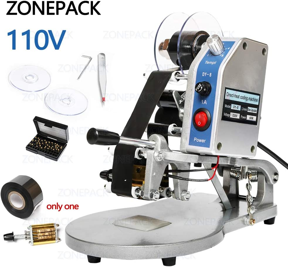 ZONEPACK DY-8 Date Coding Machine Heat Printing Machine Manual Electric Hot Stamp Date Code Printer Semi Automatic Coding Machine Date Label Heat Machine for Plastic Film Flexible Packaging