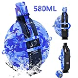 Collapsible Foldable Military Water Bottle Portable Silicone Water Kettle 19.8 Ounce BPA Free with Compass Bottle Cap Canteen Kit for Outdoor Hiking Camping Cycling Travel Sports