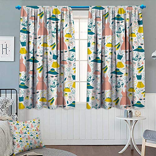 Chaneyhouse Heels and Dresses Window Curtain Fabric Women Girls Clothes and Accessories Pattern Summer Fashion Drapes for Living Room 55