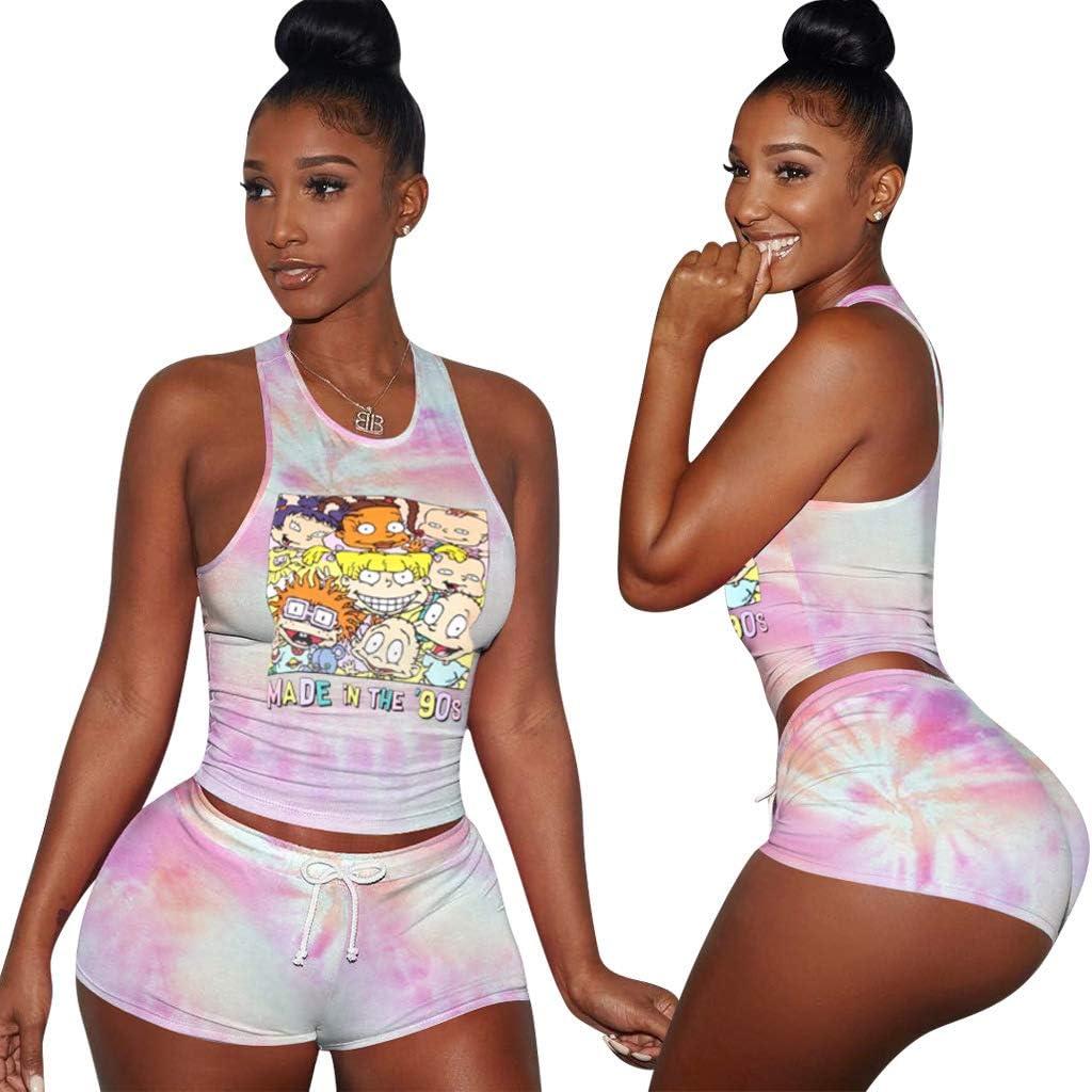 PAODIKUAI Womens Cartoon Tie Tye Print Tank Top Shorts Sets 2 Piece Tracksuit Sports Outfit