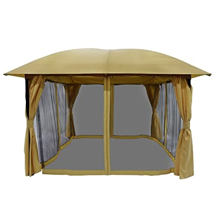 Superb Quictent 11.5x11.5 Metal Gazebo With Netting Screened Pergola Canopy Patio  Gazebo Heavy Duty
