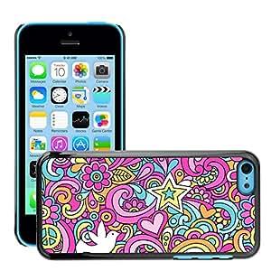 Print Motif Coque de protection Case Cover // V00002504 Psicodélico sin fisuras Doodles Paz // Apple iPhone 5C