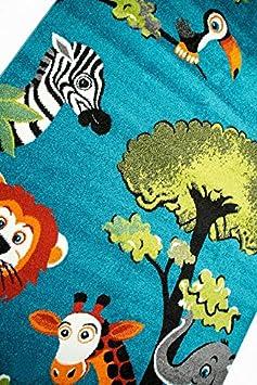 Carpetia Teppich Kinderzimmer Babyzimmer Zootiere Affe Giraffe Elefant Zebra Blau gr/ün Gr/ö/ße 160x230 cm