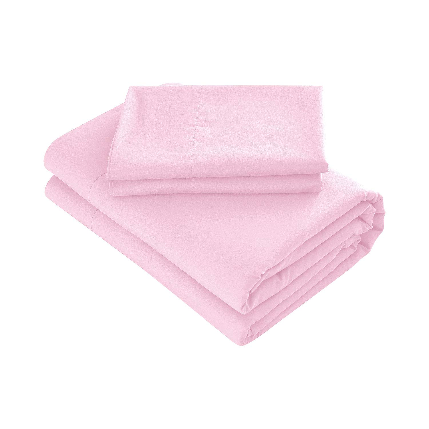 Prime Bedding Bed Sheets - 4 Piece Full Size Sheets, Deep Pocket Fitted Sheet, Flat Sheet, Pillow Cases - Light Pink