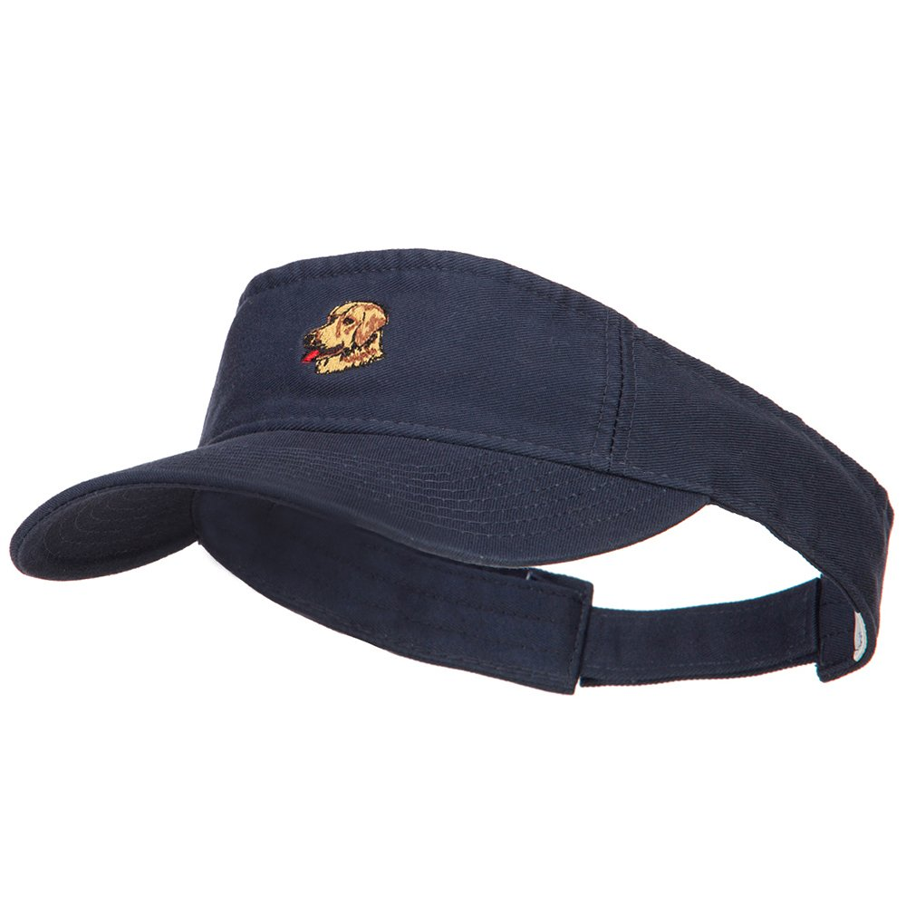 Golden Retriever Head Embroidered Pro Style Cotton Washed Visor - Navy OSFM