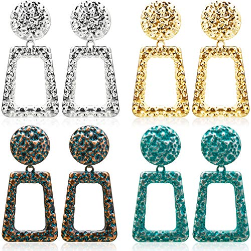 4 Pairs Bohemian Vintage Dangle Earrings Retro Rhinestone Earrings Boho Dangle Drop Earrings for Women Girls (Style H) (Best Friend Gifts For Kids)