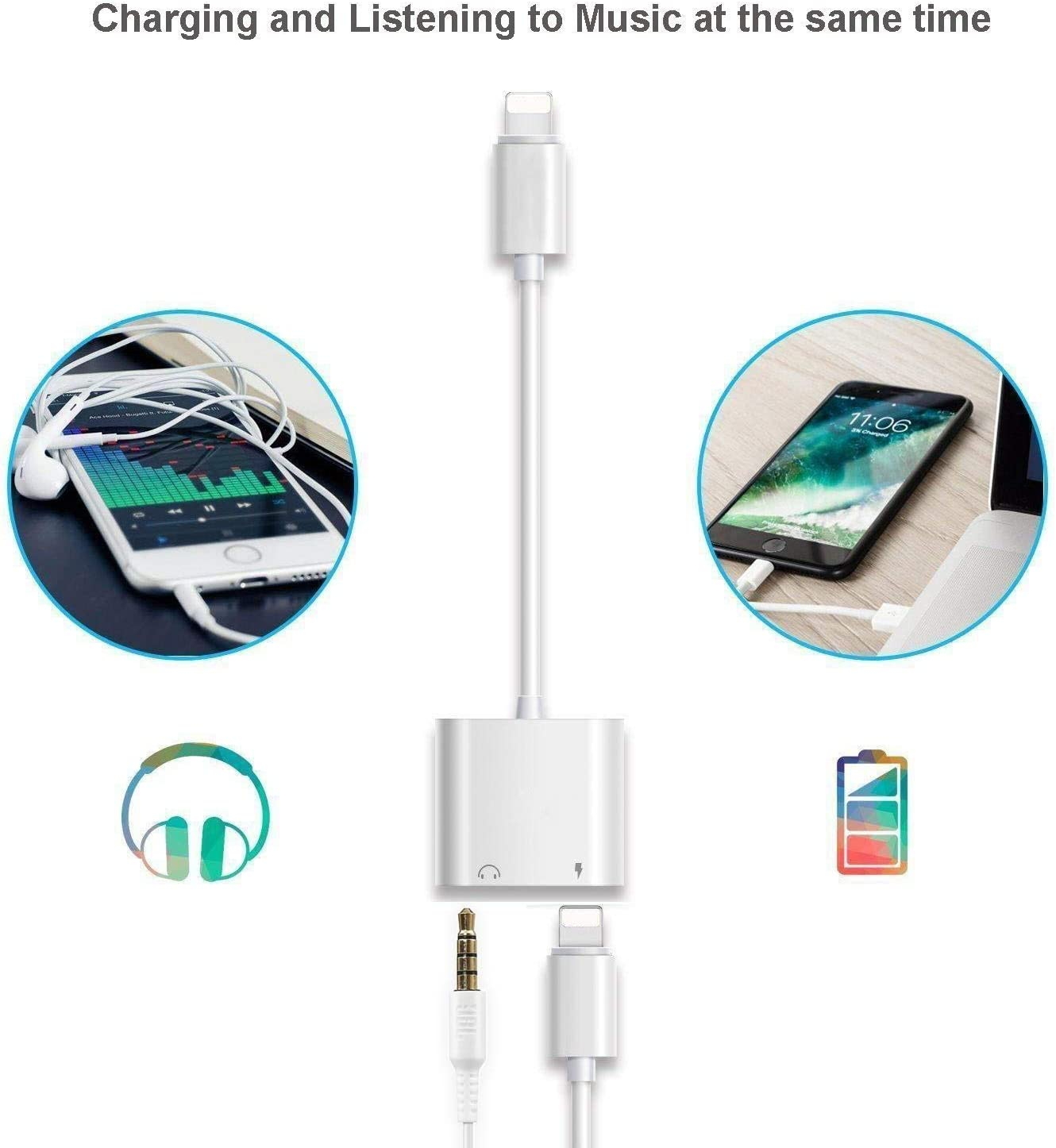 Headphone Adapter for iPhone 12 Adapter to 3.5mm AUX Audio Adapter Jack Cable Splitter for iPhone 7//7 Plus//8//8 Plus//X//XR//XS//XS Max//11//12 3.5mm Earphone Connector Dongle Support for All iOS Systems