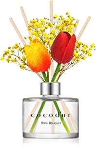 Cocod'or Tulip & Preserved Real Flower Reed Diffuser/Floral Bouquet / 6.7oz(200ml) / 1 Pack/Reed Diffuser Set, Oil Diffuser & Reed Diffuser Sticks, Home Decor & Office