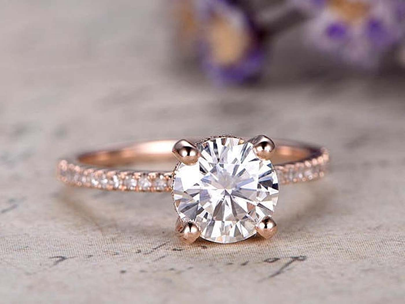 Dabangjewels 1.50ctw Round Cut 7mm White CZ Diamond 14k Rose Gold Over .925 Sterling Silver Engagement Promise Ring Prong Set Band For Womens