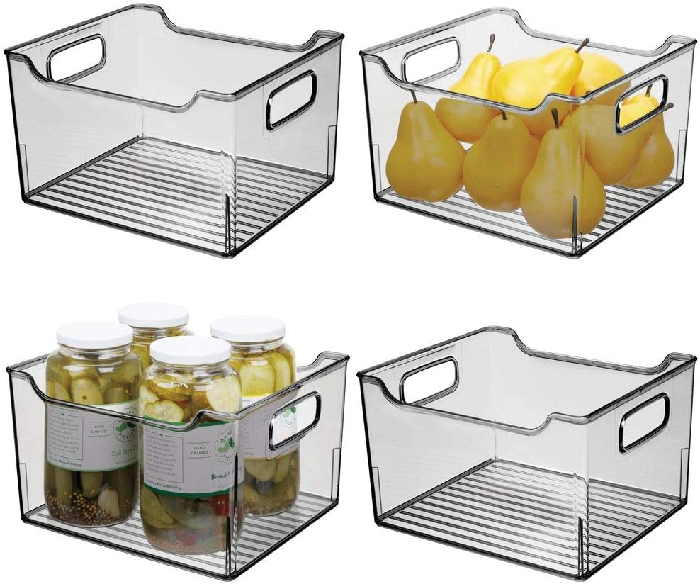 mDesign Set of 4 Plastic Storage Box – Deep Open-Top Refrigerator Storage Tray with Handle – Can Be Used as Fridge Tray, Shelf Box or for Cupboard Storage – Smoke Grey